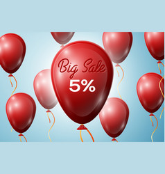 red balloons with an inscription big sale five vector image