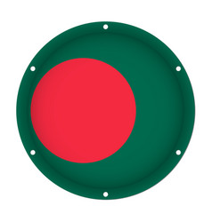 Round metallic flag of bangladesh with screw holes vector