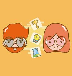 school and teachers cartoon vector image