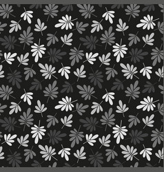 Seamless grey natural leaves pattern vector