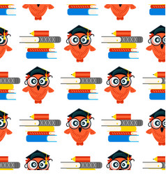 seamless school pattern made owls vector image