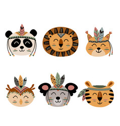 set isolated cute tribal animal faces vector image