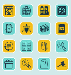 set of 16 ecommerce icons includes dollar vector image