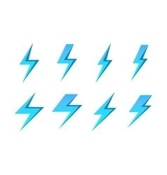Set of blue lightnings isolated over white vector