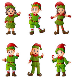 set of cartoon christmas elves isolated white back vector image