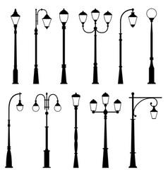 Set street lamps vector