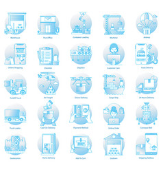 Shipping service flat icons pack vector