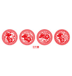 Signs with rat for happy 2020 chinese new year vector