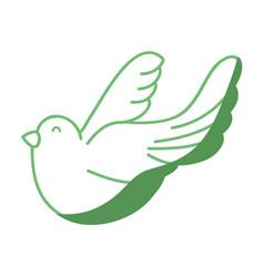 silhouette cute dove animal peace symbol vector image