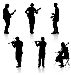Silhouettes street musicians playing instruments vector