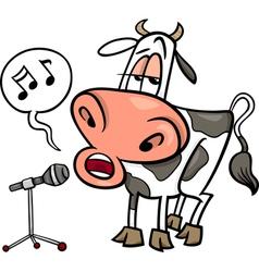 singing cow cartoon vector image