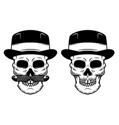 skull in vintage gentleman hat design element for vector image