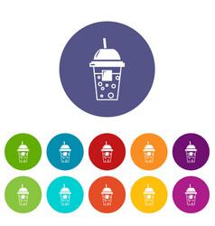 soda icons set color vector image
