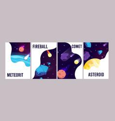 space universe cards cartoon meteorit comet vector image