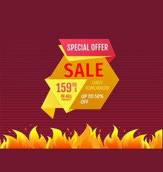 special offer only tomorrow up to 50 off sale tag vector image