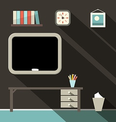 Studying Room with Blackboard and Table vector