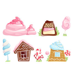 Sweet objects caramel chocolate candies fantasy vector