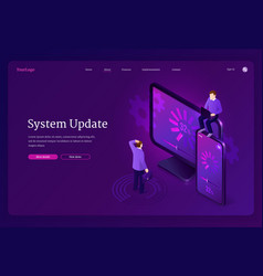 system update isometric landing page web banner vector image