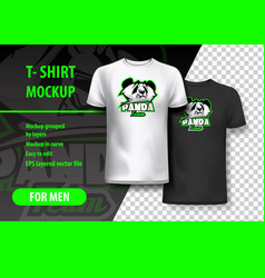 T-shirt mockup with panda phrase in two colors vector