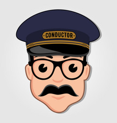 Train conductor cartoon face with glasses vector