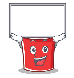 up with board bucket character cartoon style vector image