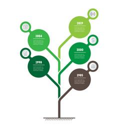 Vertical green infographics tree of development vector