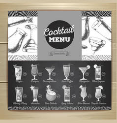 Vintage chalk drawing flat cocktail menu design vector