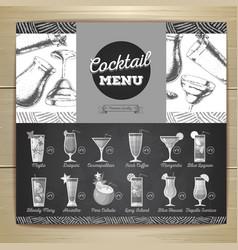 vintage chalk drawing flat cocktail menu design vector image