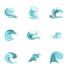 water wave icons set flat style vector image
