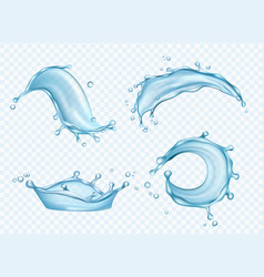 Waters realistic aqua splashes liquid fresh drops vector