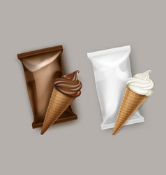 white chocolate ice cream waffle cone wrapper vector image