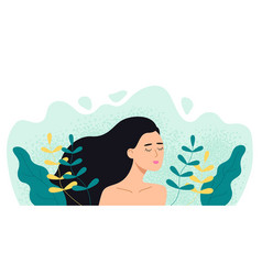 woman in plants and leaves girl with closed eyes vector image
