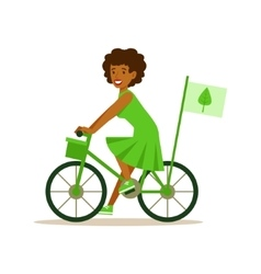 Woman On Bicycle Using Green Transportation vector image
