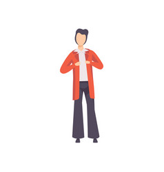 young man in fashionable clothes from the 70s vector image
