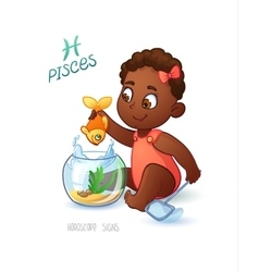 Zodiac sign PISCES African Americam baby girl vector
