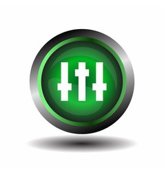 Equalizer green circle icon vector image vector image