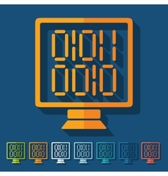 Flat design computer screen with binary vector