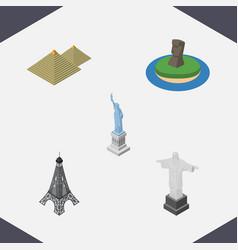 isometric architecture set of new york egypt vector image