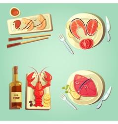Sea food cartoon icons vector