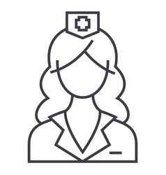woman doctor nurse line icon sign vector image vector image