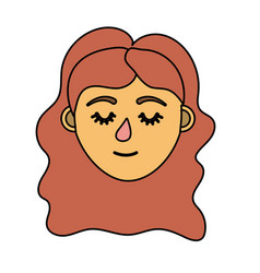 Woman head with closed eyes and hairstyle vector