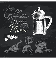 Coffee hand drawn chalkboard design set vector image vector image