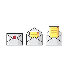 color line envelope mail icon colorful flat vector image vector image