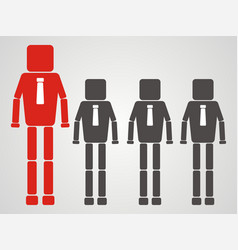 teamwork concept businessman with square head vector image vector image