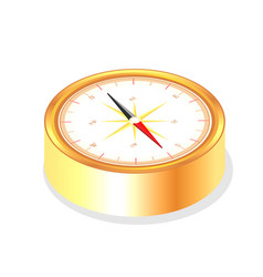 Isolated realistic golden color metallic compass vector