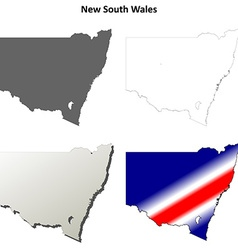 New south wales outline map set vector