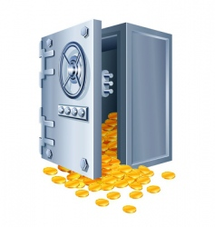 open safe with gold coins vector image vector image