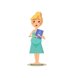 Pregnant woman holding a book vector