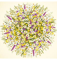 Circle with wild flowers vector image vector image