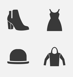 clothes icons set collection of female winter vector image